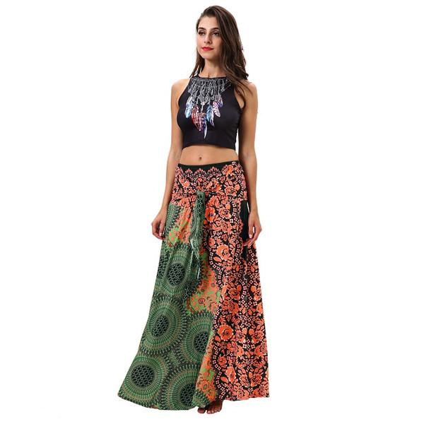 Fashion bohemian style design digital print long strap dress beach wear tube top skirt ladies trend skirt wholesale