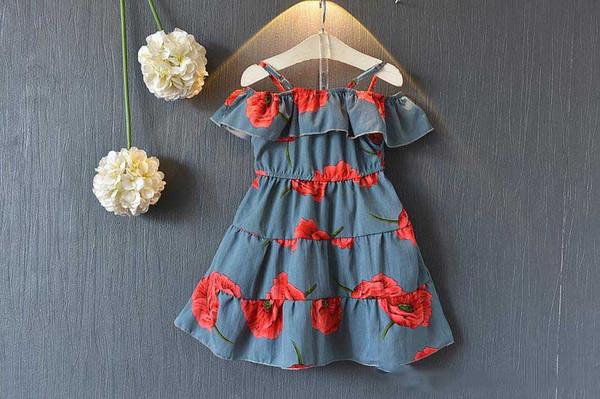 summer girl kids sleeve-less ruffles dress shoulder off floral princess dress kids hollow out dress 5 p/l