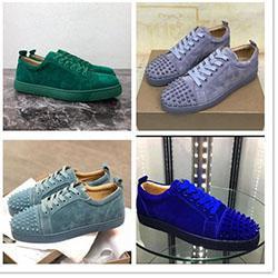 Designer Chaussures de sport en bas Rouge Spikes plat Velours Suede Sneakers Gris Fer hommes formateurs 100% réel chaussures en cuir Parti C09106