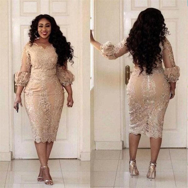 Champagne Plus Size Mother Of The Bride Dresses Lace Applique 3/4 Sleeves  Tea Length Mermaid Evening Gowns Formal Mother Dress Party Bestido Mother  ...