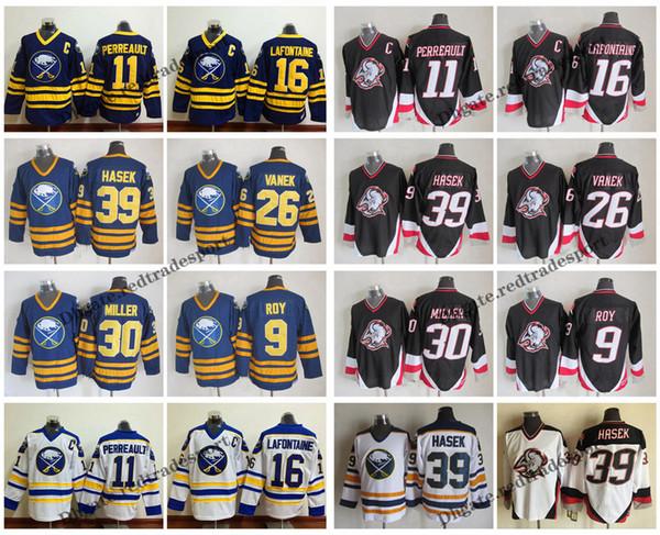 vintage buffalo sabres 16 pat lafontaine 11 gilbert perreault 39 dominic hasek 26 thomas vanek 9 derek roy 30 ryan miller hockey jerseys