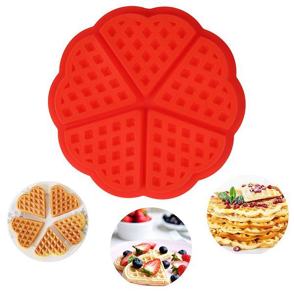 Nahrungsmittelgrad-Silikon-Waffel-Form, fünf Herz-Waffel-Muffin-Plätzchen-Form, Qualitäts-Antihaft-Form-Silikon-Backen-Kuchen-Werkzeug-Farbe rot