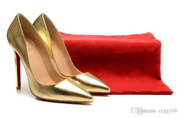 Zapatos de tacón alto de las mujeres de los zapatos de tacón alto 12 cm del cuero rojo del oro de las mujeres del tacón alto Bombas de los zapatos bajos zapatos atractivos del partido de la boda