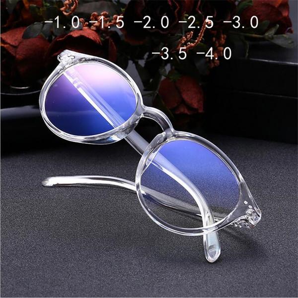 -1 -2 -1,5 -2,5 -3,5 -3 -4 acabamento miopia vidros Mulheres curto-vista Óculos preto e transparente Quadro Mulheres miopia