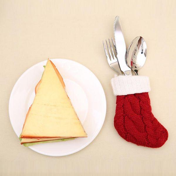 Weihnachten rot gestrickte Weihnachtsstrümpfe Socken Dekoration für Home Besteckhalter Messer Gabel Abdeckung Taschen