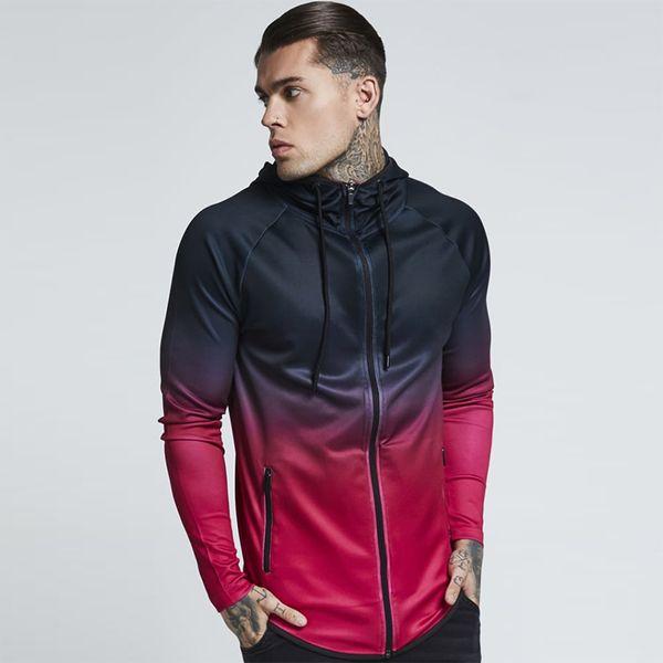 New Autumn Running Jacket Men Long Sleeve Fitness Sweatshirts Gradient Hooded Hoodies Gym Sport Jacket Joggers Shirt Sportswear