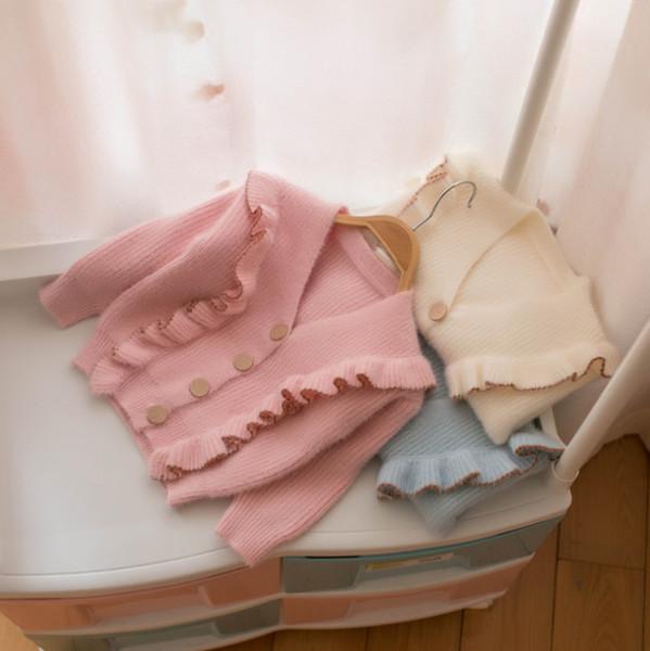 Малыш девушки вязать кардиган осень дети falbala принцесса свитер топы дети V-образным вырезом с длинным рукавом трикотажные пиджаки детская одежда Y2894