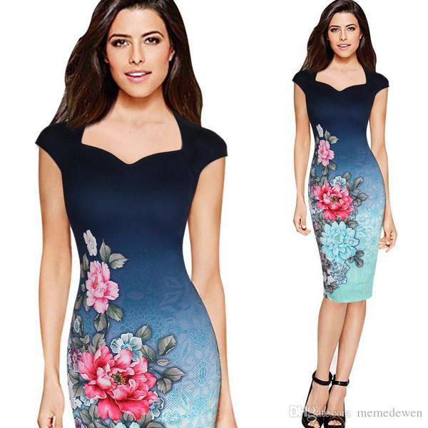 Lady Summer Cheongsam Pencil Dress Vestidos Robe Gradient Color Flowers Print Slim Waist Career Dresses Drop Shipping Bodycon Dress KD-015