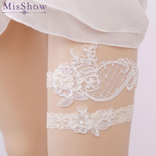 in Stock Cheap Sexy Appliques Pearl Wedding Leg Garter Belt Lace ivory Wedding Garter Bridal Garter Wedding Accessory For