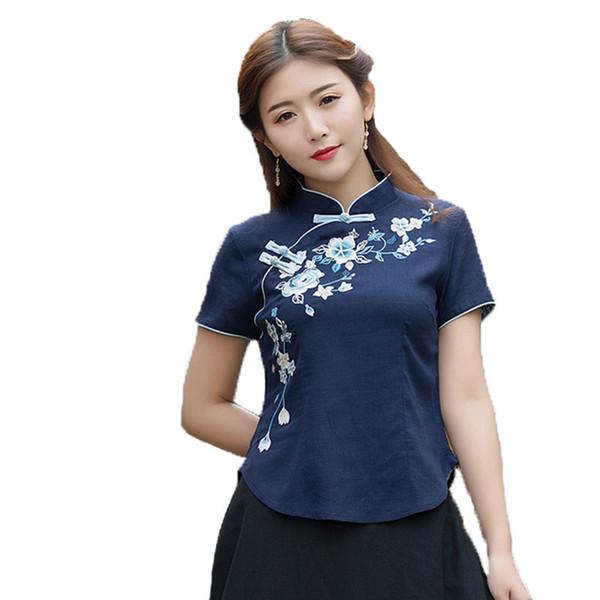 Vintage Elegante Camiseta de Las Mujeres T-shirt Body Top Camiseta Blusas Feminina Camiseta Bordado Harajuku Ropa de Verano Estilo Chino J190511