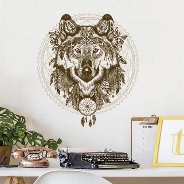 New Animal Wolf Totem Wall Sticker For Kids Baby Room Wallpaper 50*70cm Home Decor Living Room TV Sofa Wall Poster PVC Art Mural