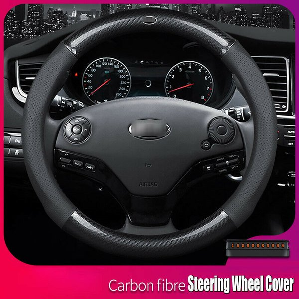 Universal 15 inch Size M Carbon Fiber Leather Car Steering Wheel Cover For KIA