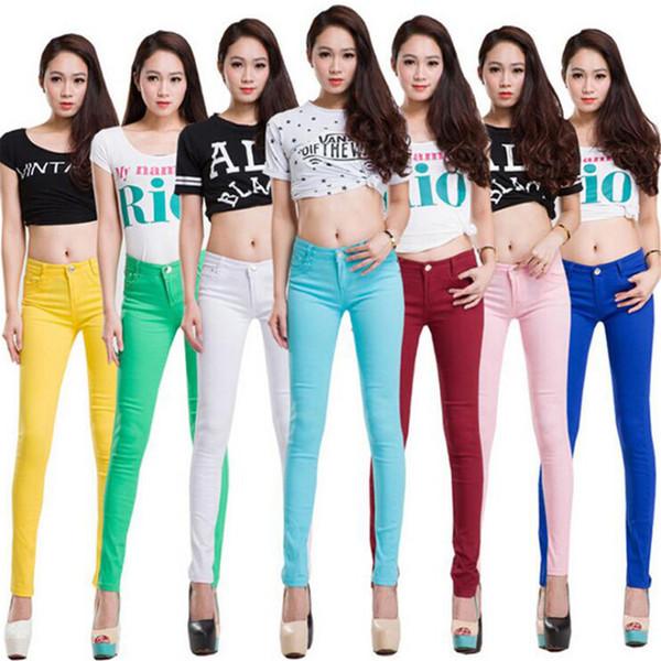 Algodão inteiro Sete cores pinkycolor força Elástica calças Lápis de cintura alta jeans mulher skinny mulheres jeans mujer jean plus size