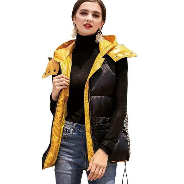 Dünne Weiblichen Weste Daunenjacke Neue Persönlichkeit Gefüttert Tasche Mit Großhandel Mode Gelb Pailletten Winter Mantel Kapuze Schwarz 2019 Frauen ZXiukP