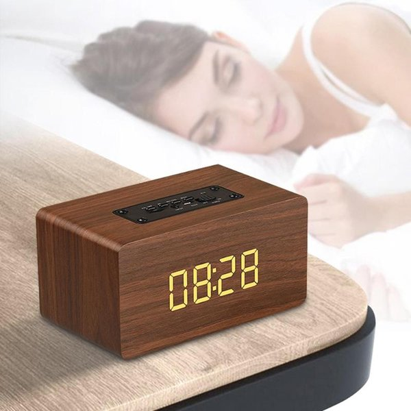 Retro Wooden Digital LED Alarm Clock With Bluetooth Speaker FM Radio Backlight Desktop Alarm Clocks Home Decor