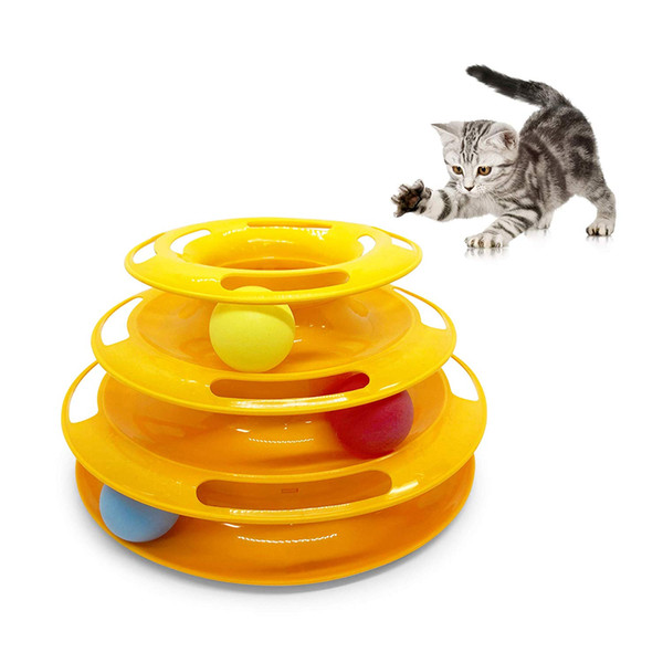 Cat & Kitten Three Layer Colorful Track Ball Tower Fun Mental Stimulation Physical Exercise Puzzle Cat Toys