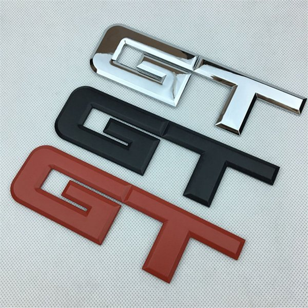 18cm*5.1cm New Car Styling 3D Metal GT Emblem Cars Front Rear Trunk Badge Side Sticker Logos Black Red Silver