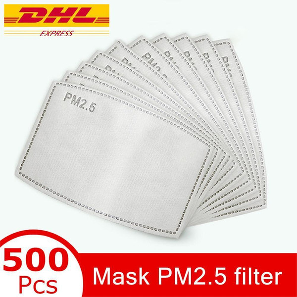 top popular face mask Filter gasket Replaceable Breathable 5 Layers Activated Carbon PM2.5 Mask Filter Paper Pad for Anti Haze Dust Cover Outdoor Work 2021