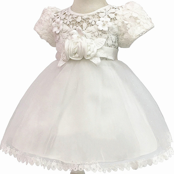 1 Year Birthday Baby Girl Dresses For Baptism Infant Snow White Princess Lace Christening Gown Newborn Bebes Clothes For Girls Y19061001