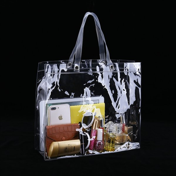 35 Uzunluk x 30 Yükseklik x 10 Derinlik cm Şeffaf bez plastik PVC vinil çanta Özel # 110969 için Uygun