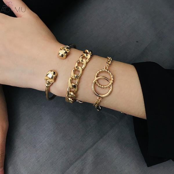 3pcs / set catena punk del cranio largo Charm Bracelet Set geometrica del cerchio Croce Bracciale braccialetto per la ragazza delle donne Dichiarazione Gioielli