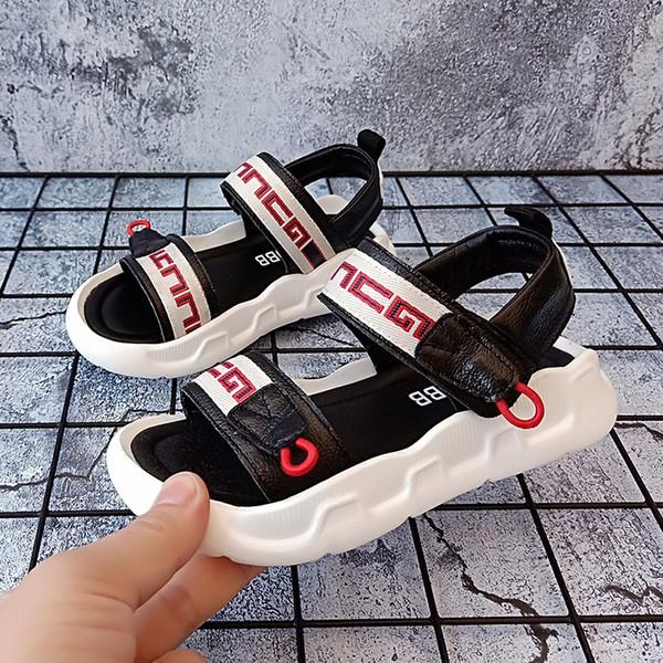 sandali del bambino 2019 nuova estate coreana in vera pelle morbida fondo casuale scarpe da spiaggia per bambini antiscivolo ragazze sportive sandali di marca piatta del progettista