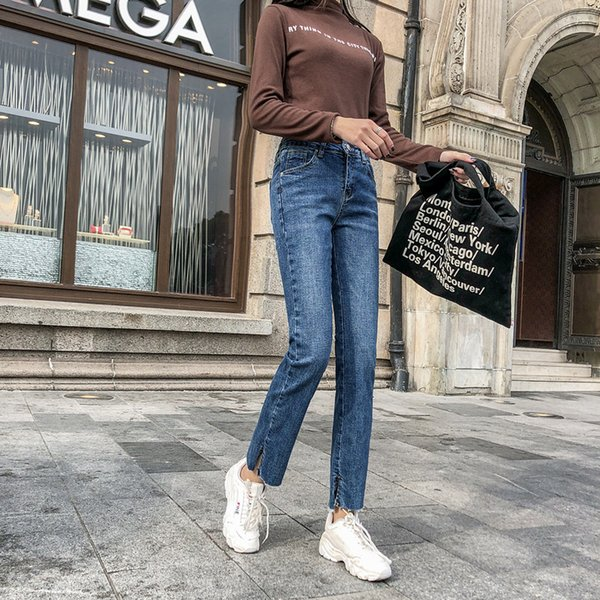 Denim di stirata dei pantaloni jeans delle donne più di formato vita alta Skinny jeans diritti blu Feminino 4XL nove punti Slim Donna