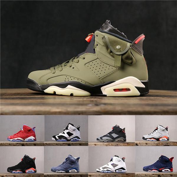 Acheter 2019 Nouveau Noir Infrarouge Air Jordan VI 6 Chaussures De Basket Travis Scott Olive PSG DMP Doernbecher Tinker Hatfield Flint Diffusé Bleu