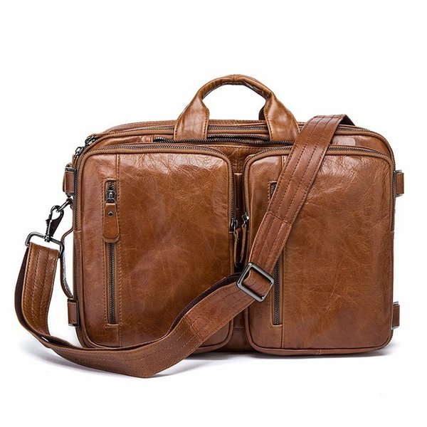 Men's Genuine Leather Briefcase Luxury Leather Shoulder Bag Laptop Tote Bag Cow Business Double Layer Messenger #593408
