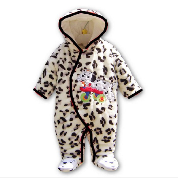 Kids Winter Fleece Rompers One-piece Children Jumpsuits Hoodies Long-sleeved Footies Baby Girls Boys Infant Toddler Clothing