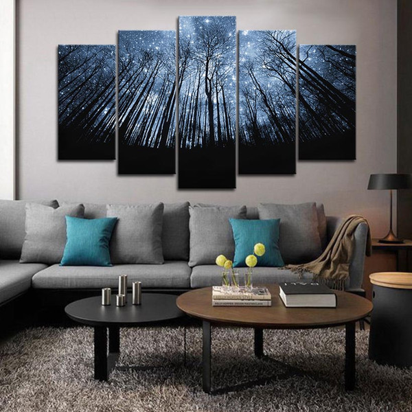 2019 Large Framed Wall Art Trees With Summer Bule Starry Sky Pictures For  Living Room Wall Decor Posters And Prints Canvas Painting From  Wallartpaint, ...