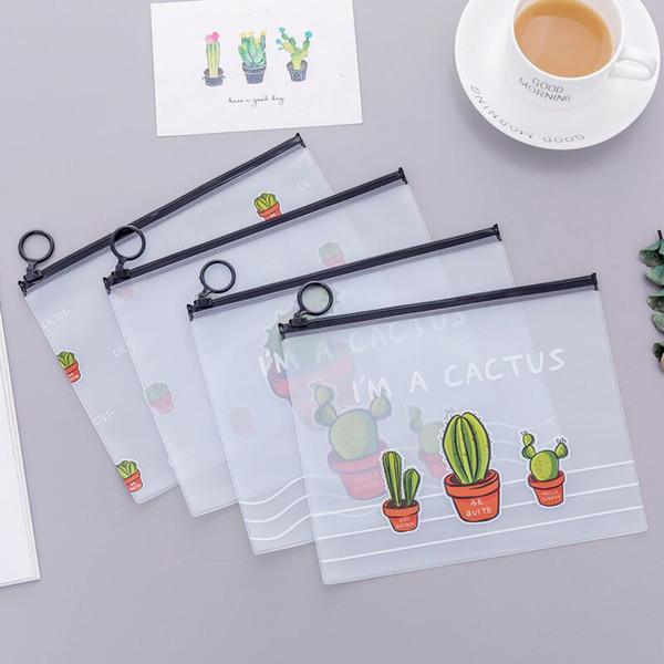 PVC Makeup Bag 4 Designs Female Handbag 17.1*21.2CM Large Capacity Student Pencil Case Transparent Cactus Storage Bag 50 Pieces DHL