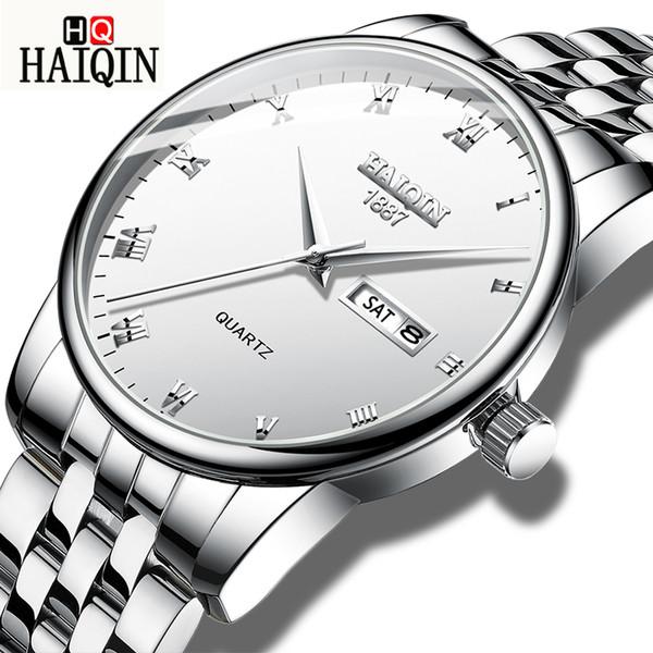 HAIQIN Hommes Montres Mode Hommes Top Marque En Acier Inoxydable De Luxe Quartz Sports Étanche Horloge Cadeau Relogio Masculino