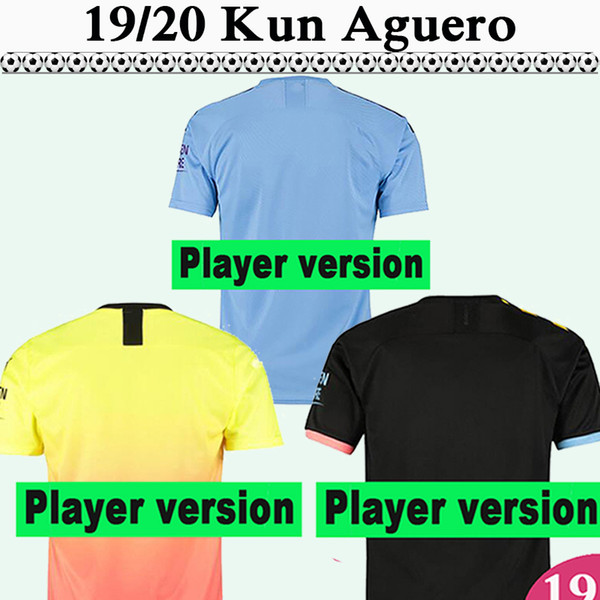 19 20 kun aguero de bruyne player version mens soccer jerseys sterling away home football shirts kompany g. jesus sane short sleeve uniforms