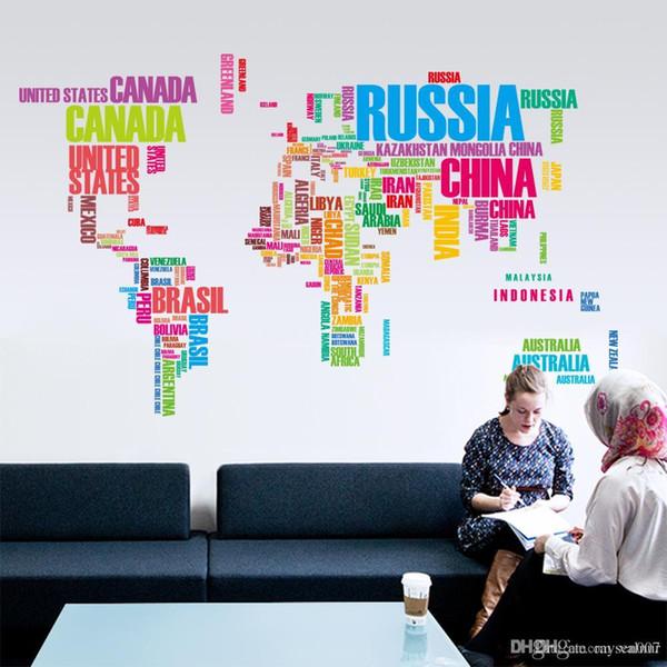 3 couleurs Creative Décoratif Carte Du Monde Murales Home Office Art Stickers DIY Lettre Carte Du Monde Stickers Muraux Amovible Vinyle Papier Pe