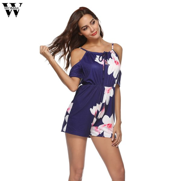 Womail bodysuit Mulheres Verão Moda Imprimir Off The Shoulder Playsuit Para Férias Senhoras Praia Macacão 2019 dropship M5