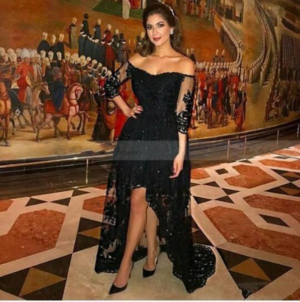 Sexy Arabic Designer Black Short Front Long Back Evening Dress Three Quarter Sleeves Lace High Low Prom Dresses 2019 Robe de Soriee
