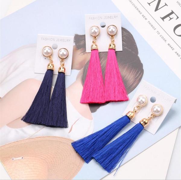 Thread Lange Quaste Designer Ohrringe mit Perle Tropfen Aussage Fringe Ohrringe für Frauen Luxus Tear Drop Europäischen Quaste Baumeln Ohrring