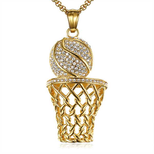 HIP Hop Jewelry Mens Sports Necklace Iced Out Bling Full Rhinestone Gold Plated Stainless Steel Net Basketball Pendant Necklaces