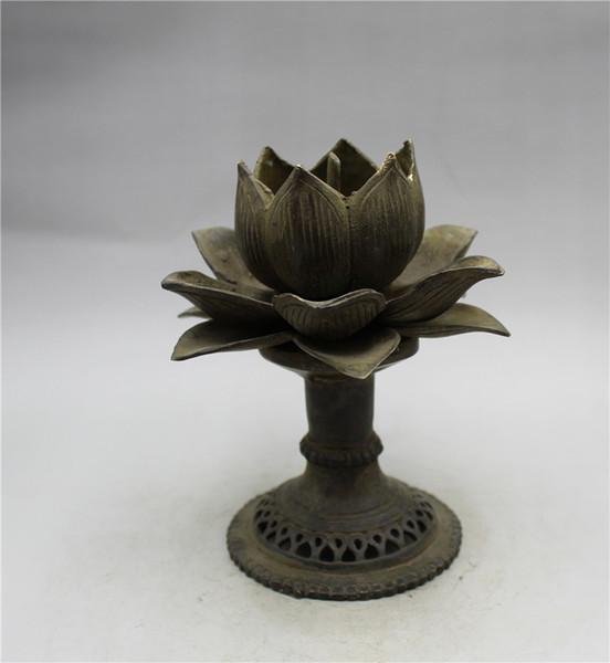 Китайское бронзовое Handwork Резного лотос подсвечник A48