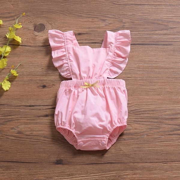 Flying Sleeve INS Pink Baby Girls Rompers Must-have Infant Girls Bodysuits One-piece Bow Sleeveless Toddler Bodysuits Girls Jumpsuits