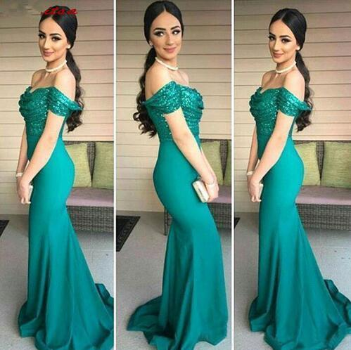 Turquoise sequins stain Bridesmaid Dresses Long Plus Size for Wedding Party Women Mermaid 2019 Brides Maid Dresses