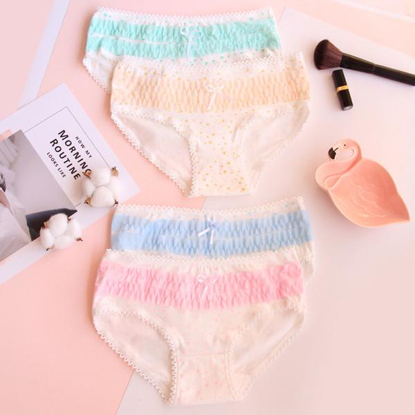 best selling Ladies panties lace ladies panties polka-dot layer layer cake cute cotton underwear wholesale