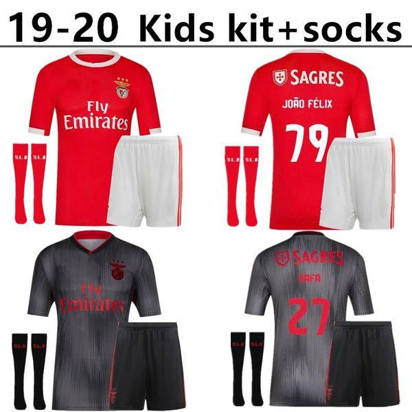 2019 2020 Kit bambini + calzini Benfica JONAS maglia da calcio 19 20 HOME AWAY JOAO FELIX RAFA Pizzi Salvio SEFEROVIC JONAS Raul Jimenez GRIMALDO