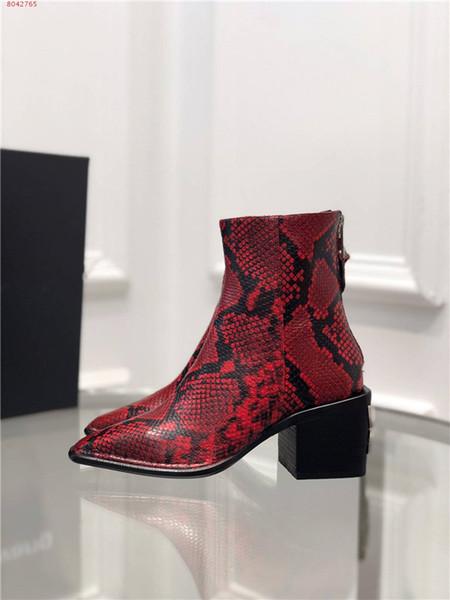 kısa botlar tane dermal ayakkabının yılan derisi yüksek topuk, Qiu dong yeni stil sivri kalın orta topuk kısa çizme fermuar Modaya elbise.