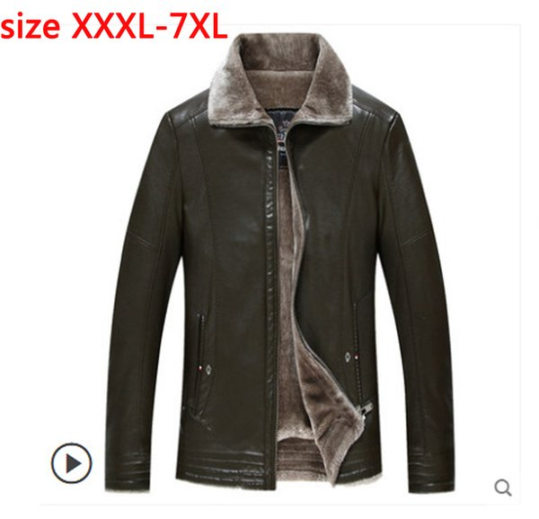 new arrival fashion plus velvet Leather Coat Men Youth Trend Loose Large Jacket Winter Thick super large Size 3XL 4XL 5XL 6XL7XL