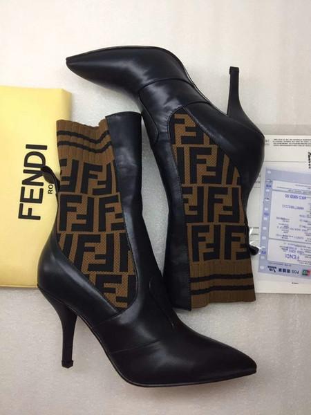 2020 Mid Bottes veau Lettre laine multicolore en maille Slip noté sur les femmes Bottes d'hiver Chevalier occasionnels Bottes tricot haute femmes chaussures 35-42 1002