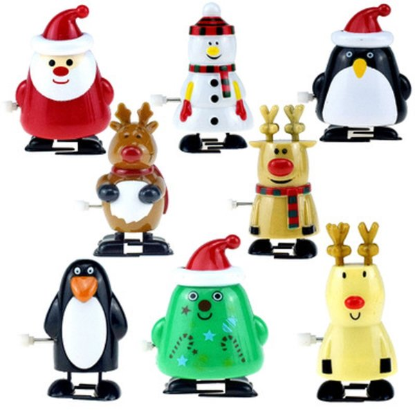 best selling 7cm 3inches Christmas Wind-up Toys Walking Santa Claus Moose Penguins Cute Plastic Toys Baby Kids Action Figures