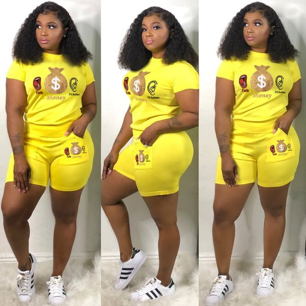 Women designer tracksuit tshirt short pants womens two piece set summer sportswear casual sport suit pullover fashion 2 piece set klw1303