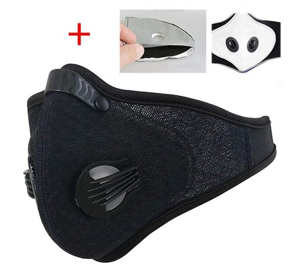 in stock face mask 3 layer ear-loop dust mouth er 3-ply non-woven dust mask soft maschera breathable outdoor #qa978, Black